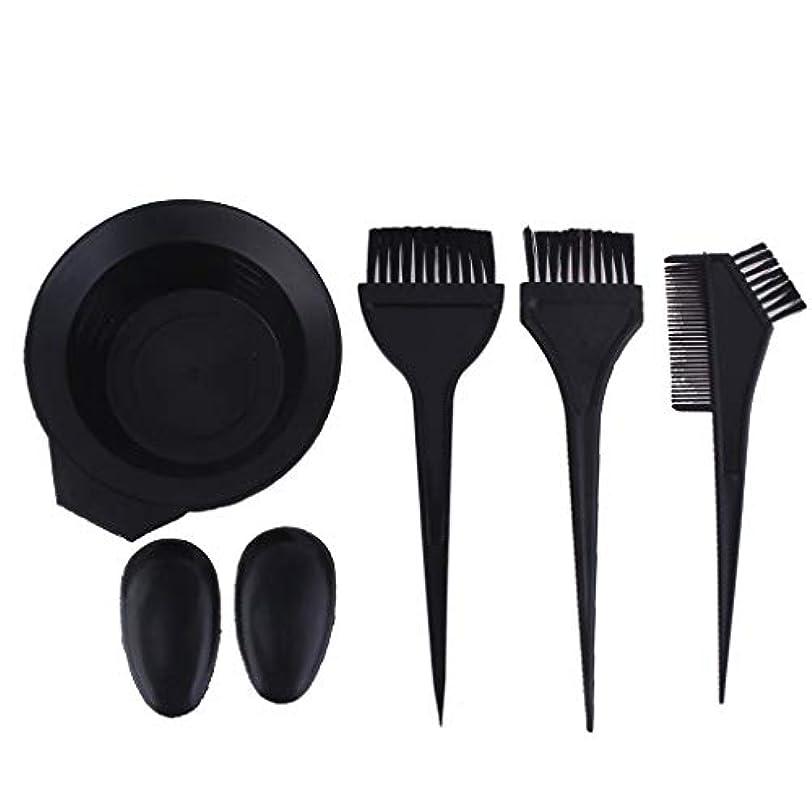 桁咳狐サロンの髪染めのためのプラスチック黒髪ボウル櫛ブラシキット