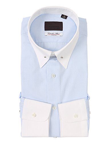 (ユニバーサルランゲージ) クレリック&ピンホールカラードレスシャツ ストライプ /Fabric by Albini/ サックスブルー×ホワイト 41