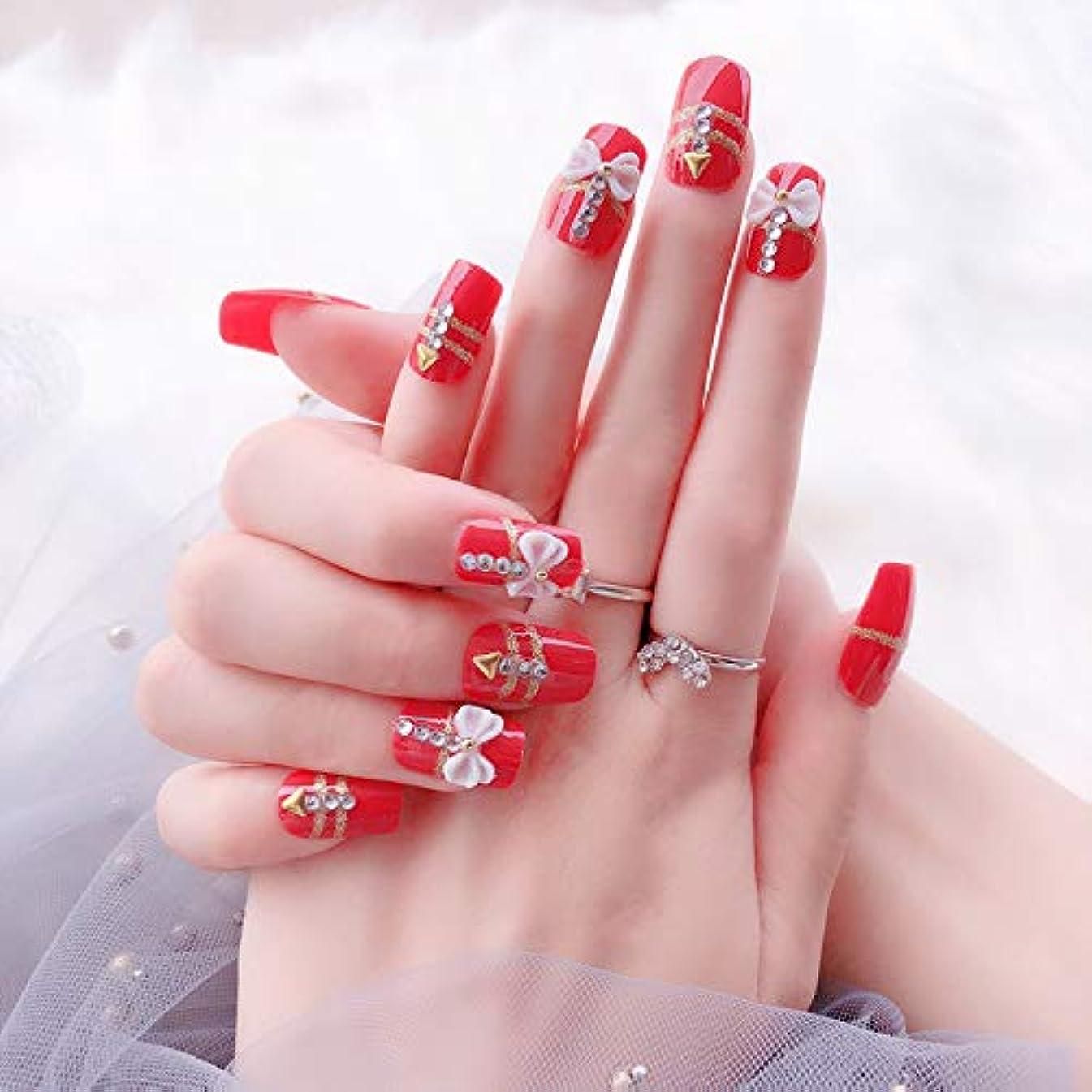 サージポンペイ行動花嫁ネイル 手作りネイルチップ 和装 ネイル 24枚入 結婚式、パーティー、二次会など 可愛い優雅ネイル 蝶の飾り付け (レッド)