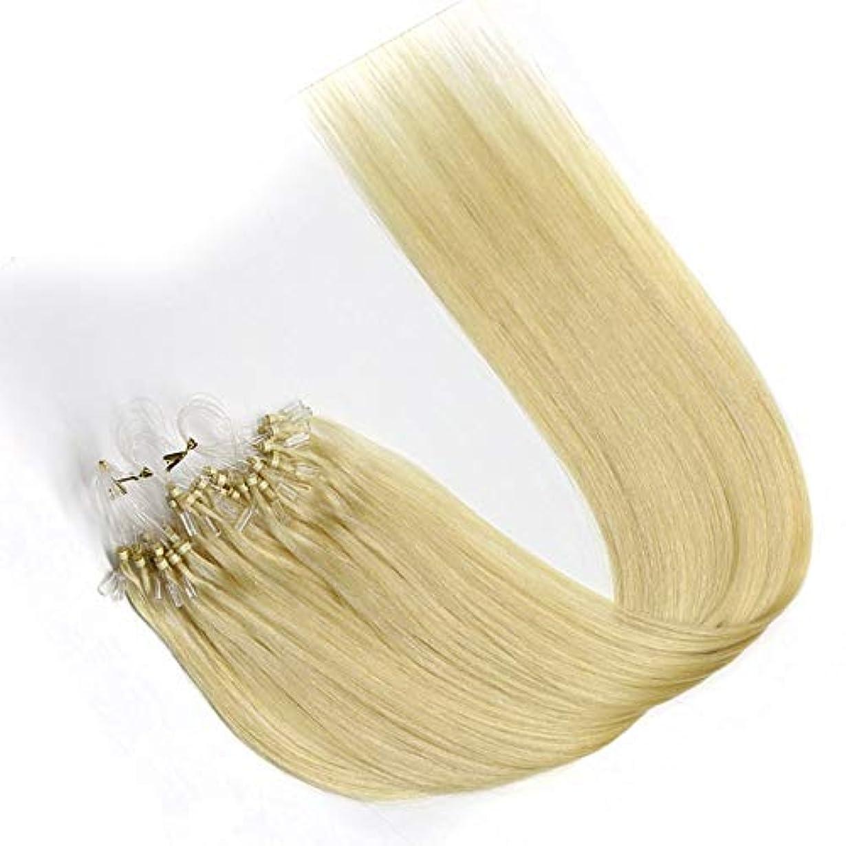 荒らす奇跡みなすWASAIO 女性のためのヘアエクステンションクリップUnseamed髪型ブロンド着色簡単ループマイクロビーズを (色 : Blonde, サイズ : 24 inch)