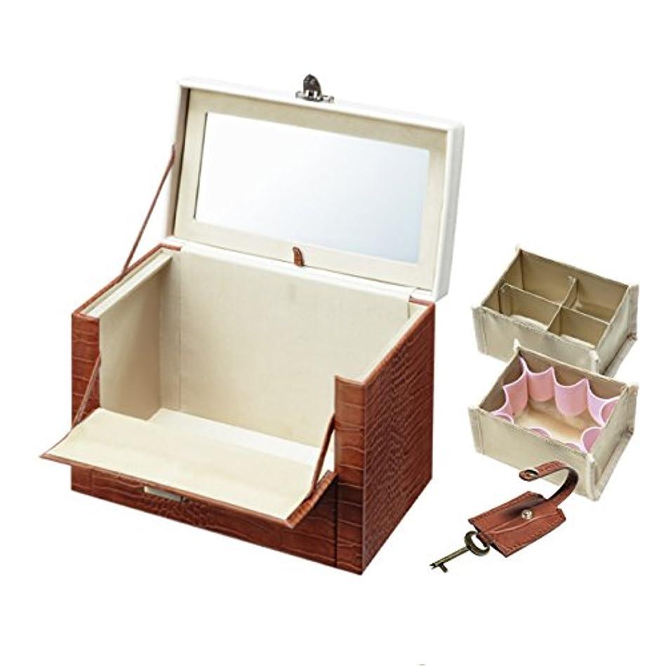 横たわる二層コンチネンタルワタシ流にカスタマイズできる クロコ柄メイクボックス クラッセ ブラウン