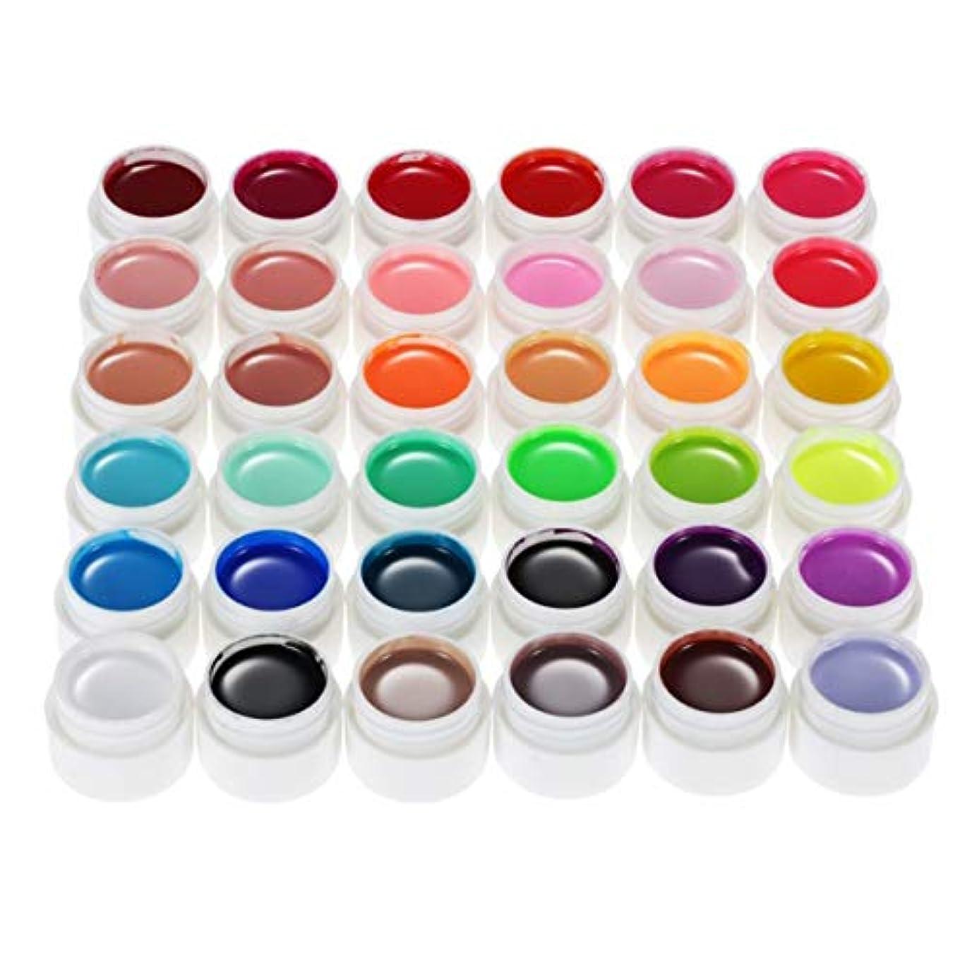 選択教室共役プロフェッショナル36ピュアカラー5グラムネイルアートグリッターuvジェルアクリルビルダー接着剤固体ポリッシュジェル長持ちネイルジェル - 36色