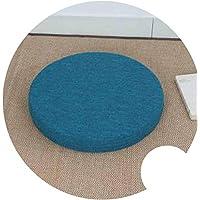 座布団 和風 ふとんクッション 修理座肥厚円フロア畳クッション,青, H6cm