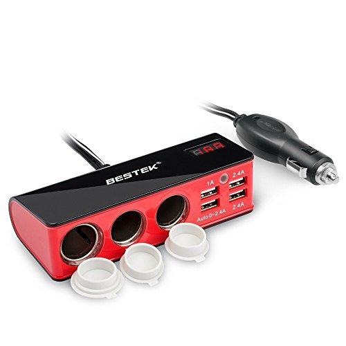 BESTEK シガーソケット usb 充電器 ソケット 3連 USB 4ポート シガーライター対応可能 電圧・電流測定機能搭載 12V/24V車対応 MRS203BU