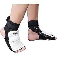 RUNACC男子女子テコンドー(テコンドー) は、体工学テコンドー训练用の足首サポートパッドpu皮足保护装置mma、泰拳、ボクシング、半指の指针、1组、黒と白、xxl。