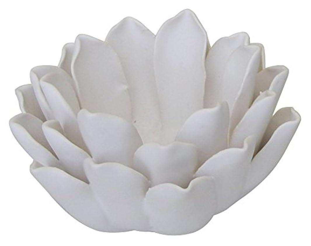 飼料波紋アブストラクトマルエス 燭台 陶器製 ロータス 小 ホワイト