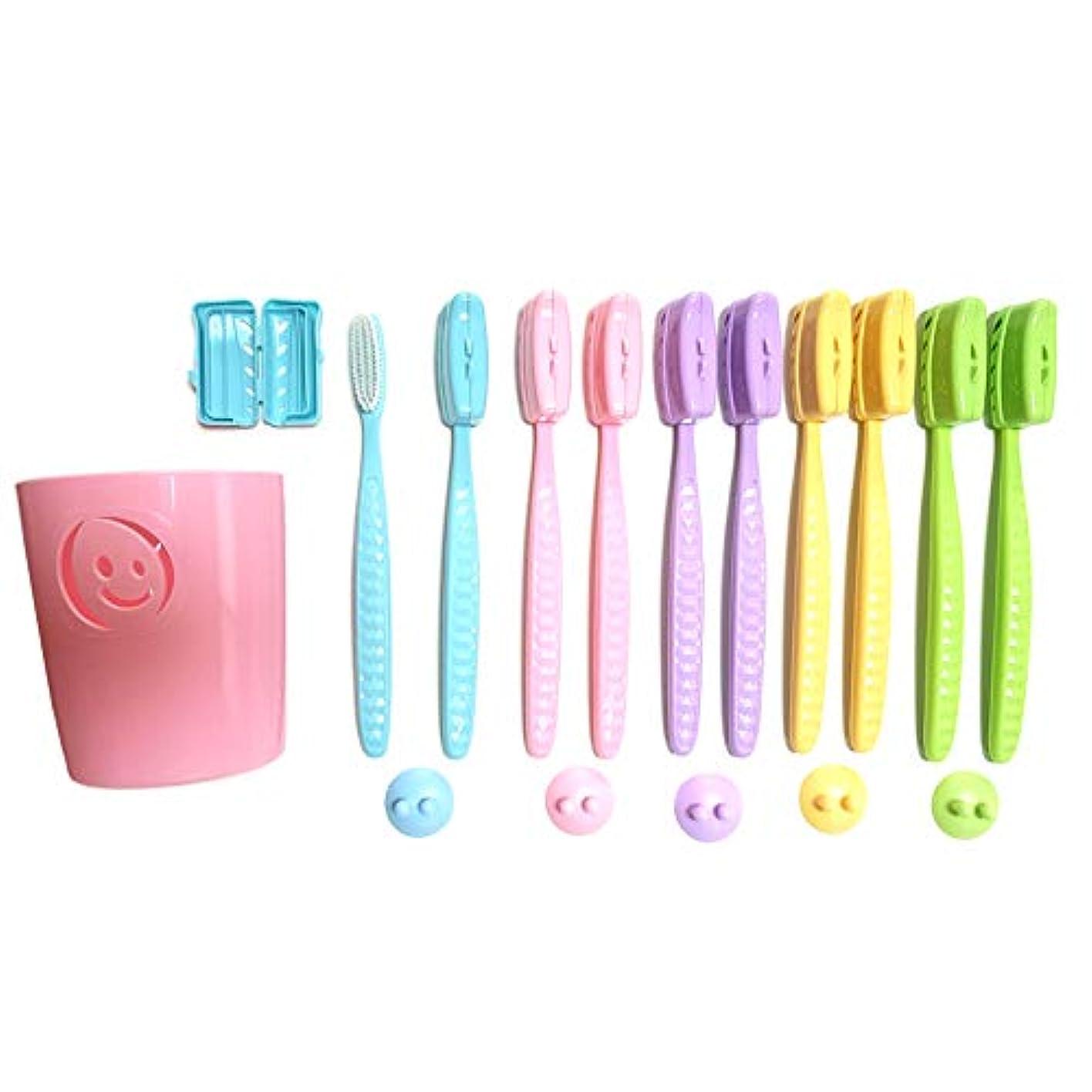 スキップイソギンチャク動プレミアムケア ハブラシ 大きいヘッド ジャンボ 超やわらかめ 歯ブラシ セット / ハブラシ10本 + ハブラシカバー10本 + 壁掛けホルダー5本 + カップ1本 Toothbrush Set [並行輸入品]