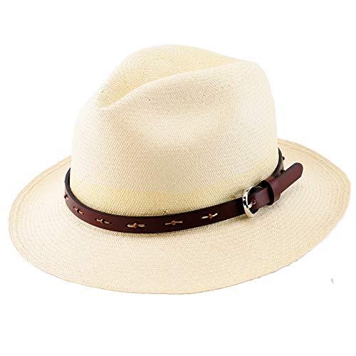Barty Blue (バーティーブルーパナマハット)/ NEWバーティー ストーン・モンテクリスティ(革バンド仕様) エクアドル直輸入本物のパナマ帽 (58)