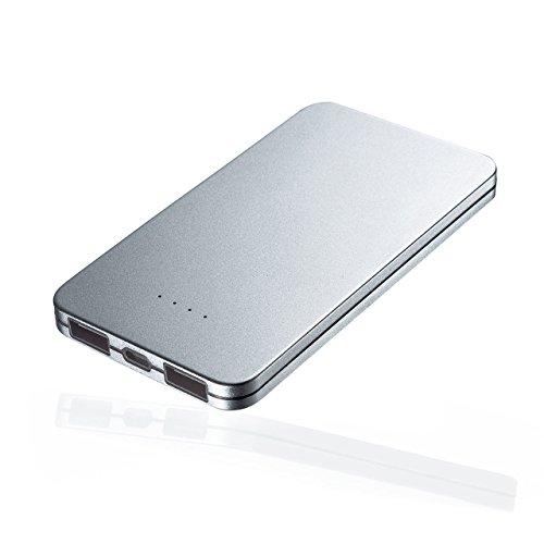サンワダイレクト モバイルバッテリー 薄型 軽量 5000mAh 最大2.1A iPhone スマホ iPad タブレット 対応 2ポート同時給電 USBケーブル付属 700-BTL027S