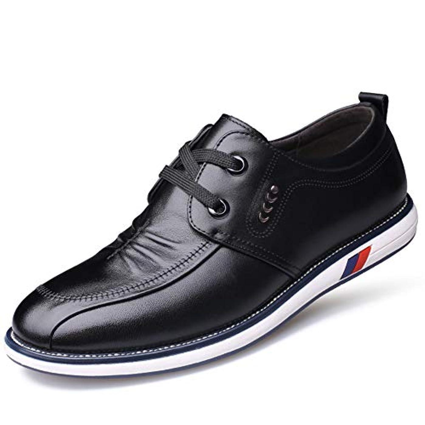 チャネル文句を言う火山の[CHENGFA] カジュアルシューズ メンズ ビジネスシューズ 本革 ローファー 紳士靴 革靴 レースアップ ウォーキング 通気性