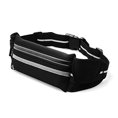 Firlar ランニングポーチ スポーツバッグ 伸縮ベルト 調節可能 夜間反射 防水 軽量 ブラック