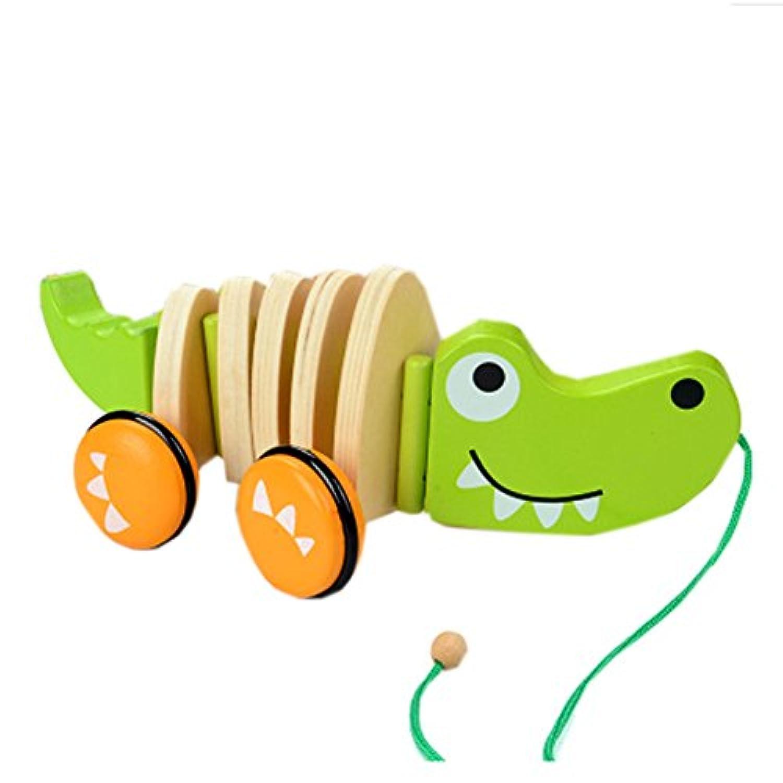 ドラッグ幼児用おもちゃ子供手Pullロープ木製玩具車 LE
