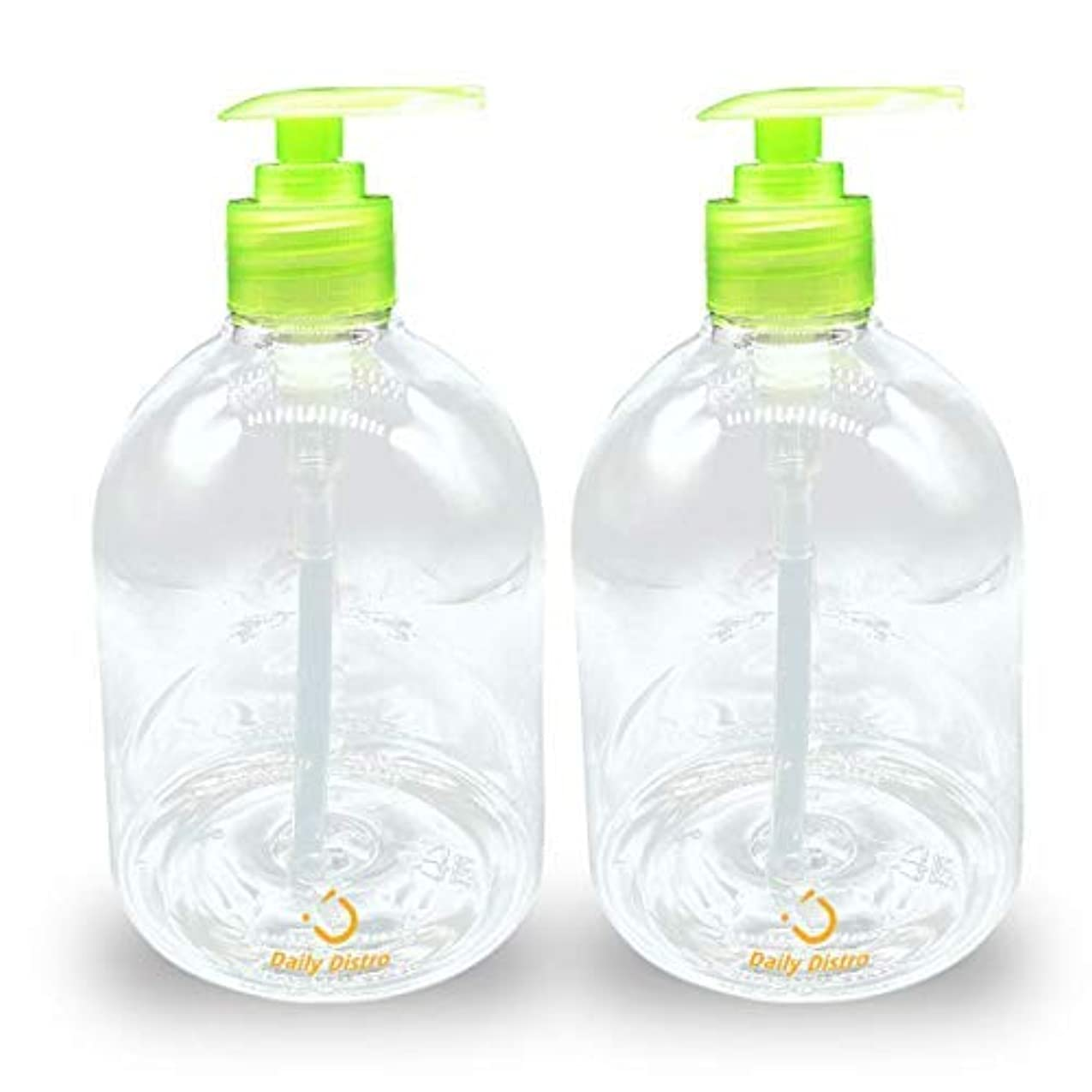 ステップ移動する弾力性のあるPack of 2 Clear PET Empty Bottle with Green Pump 16-Ounce, great for Essential Oils, Lotions, Liquid Soaps [並行輸入品]