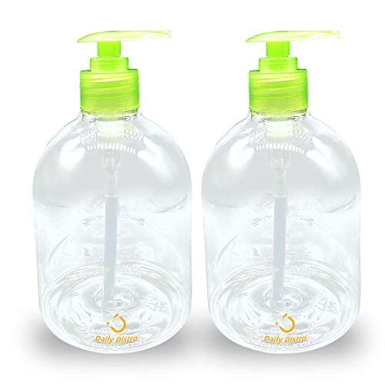 Pack of 2 Clear PET Empty Bottle with Green Pump 16-Ounce, great for Essential Oils, Lotions, Liquid Soaps [並行輸入品]