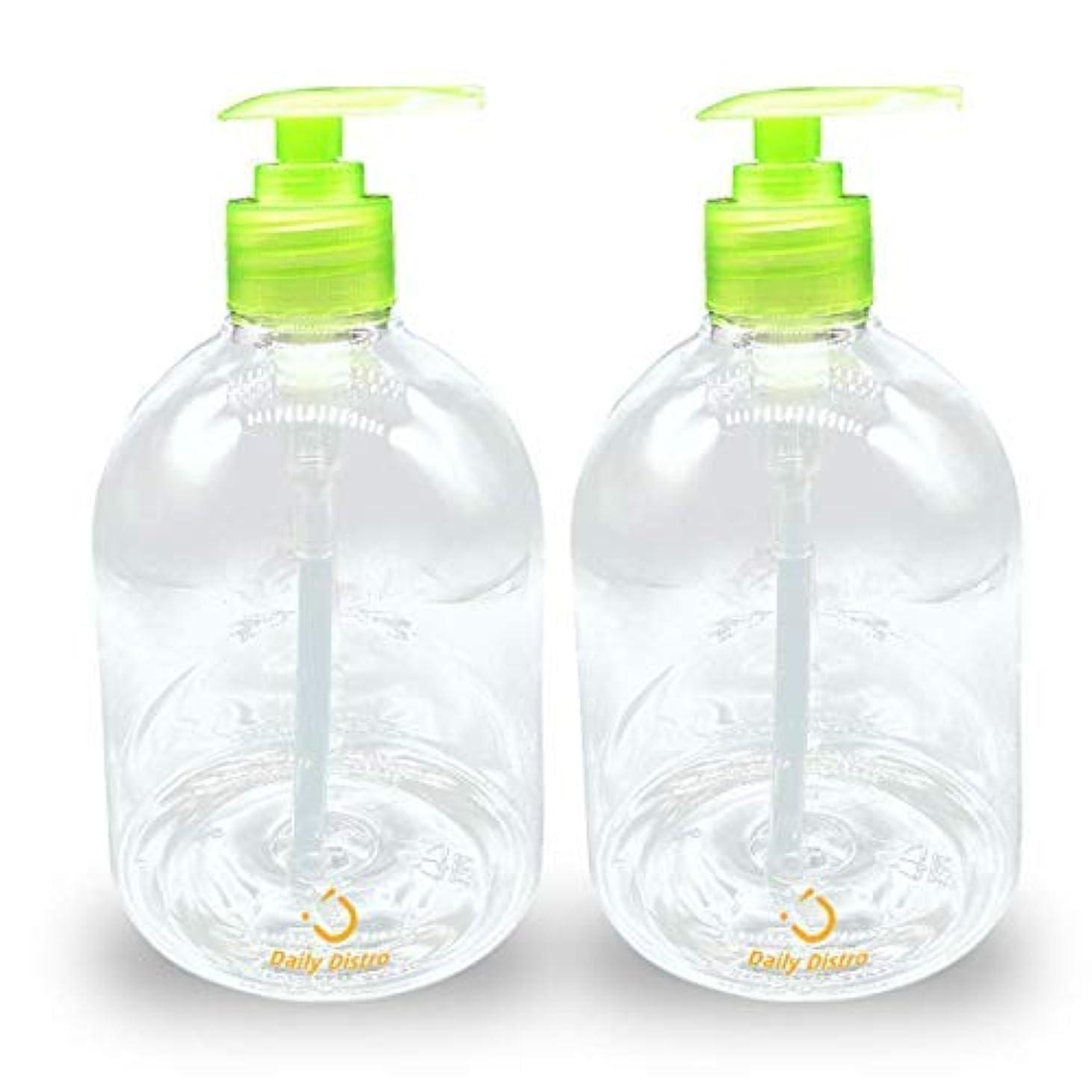 小人病上下するPack of 2 Clear PET Empty Bottle with Green Pump 16-Ounce, great for Essential Oils, Lotions, Liquid Soaps [並行輸入品]