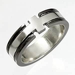 ReiZ クロスデザインのシルバーリング|指輪[ブラック] #19号