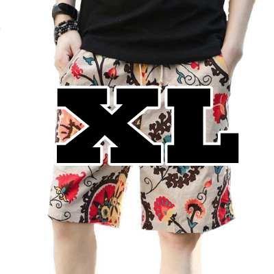 (メイク トゥ ビー) Make 2 Be メンズ リネン ハーフパンツ 短パン ショートパンツ 綿麻 花柄 KB65(02.A ベージュボタニカル_XL)