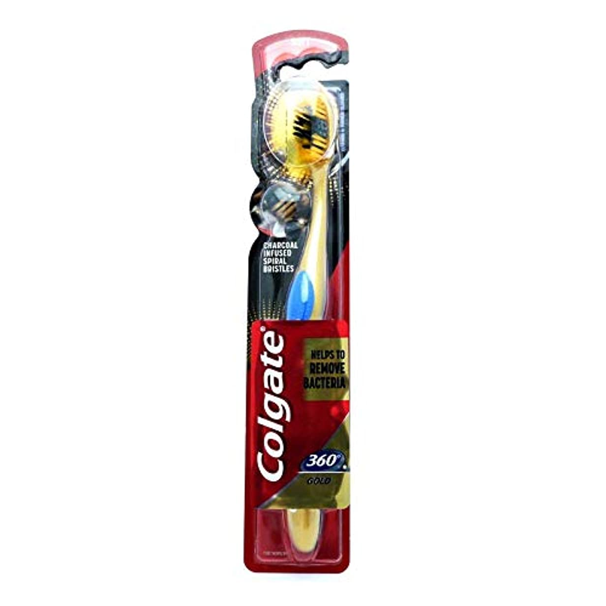 より良い鳴らす逸話Colgate Toothbrush Soft Charcoal Infused Spiral Bristles 360 GOLD Helps To Remove Bacteria