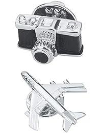 Perfeclan 美しく カメラ&飛行機デザイン ブローチ 人気 ギフト カジュアル フォーマル アクセサリー 2個