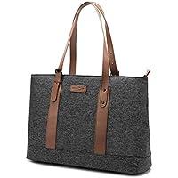 UTOTEBAG Women 15.6 inch Laptop Tote Bag Shoulder Bag Lightweight Nylon Notebook Briefcase with Adjustable Straps Slim Ultrabook Tablet Computer Bag for Business Work (Upgraded Version Black)