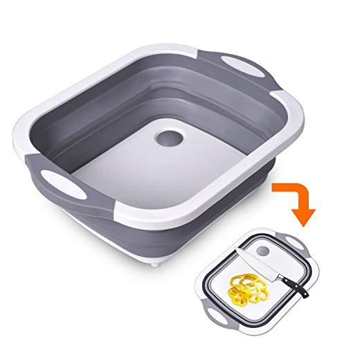 【2019年最新版】洗い桶 折りたたみ まな板 水切りかご 排水機能付き バケツ 取っ手付き 大容量 多機能 安全無臭 収納便利 キッチン アウトドア 多用途