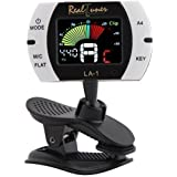 Real Tuner - Chromatic Clip-on Tuner for Guitar, Bass, Violin, Ukulele, Banjo, Brass and Woodwind Instruments - Bright Full C