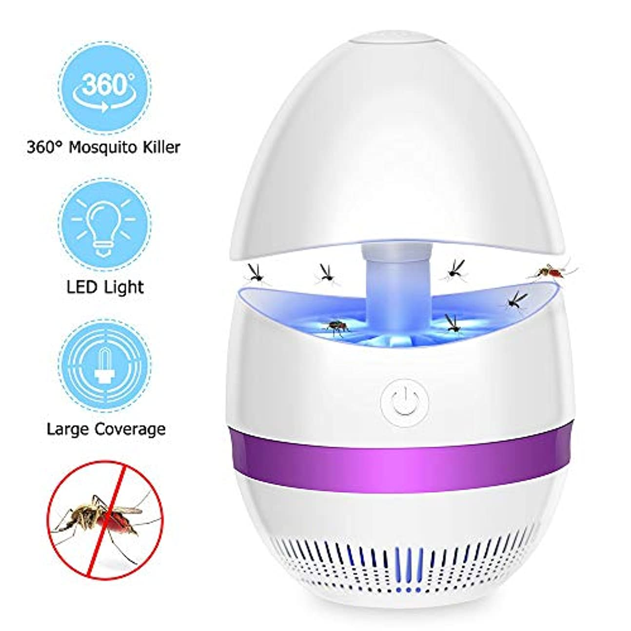 電気室内蚊キラーランプ LED UV昆虫トラップライト USBパワー 静か 無毒 物理的殺害蚊 ホームオフィスインドアアウトドアキャンプに適し(パープル)