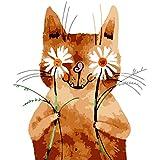 数字でDiy油絵、数字キットでペイント - 抽象的な花猫16 * 20インチリネンキャンバス - 大人のためのデジタル油絵壁アートアートワーク上級子供高齢者ジュニア