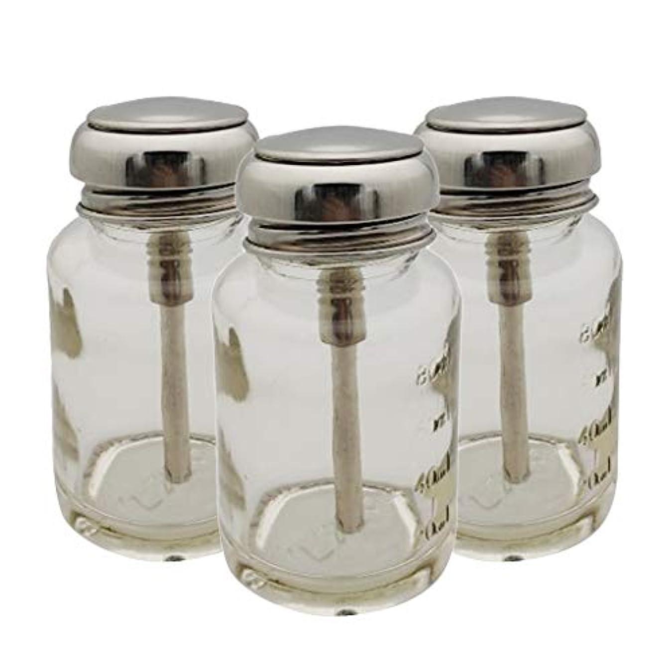 彼らののれん醜いSM SunniMix ポンプディスペンサー ネイル ポンプボトル 容器 ネイルクリーナーボトル 80ml ガラス 3個入り