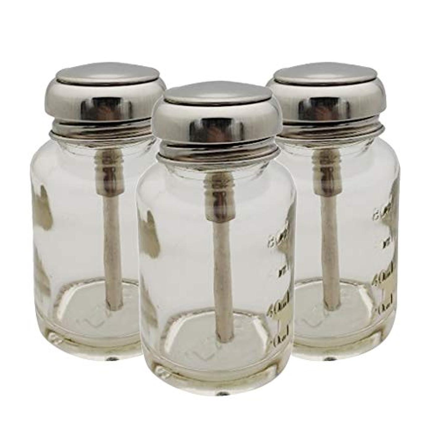 申請者間違い癒すSM SunniMix ポンプディスペンサー ネイル ポンプボトル 容器 ネイルクリーナーボトル 80ml ガラス 3個入り