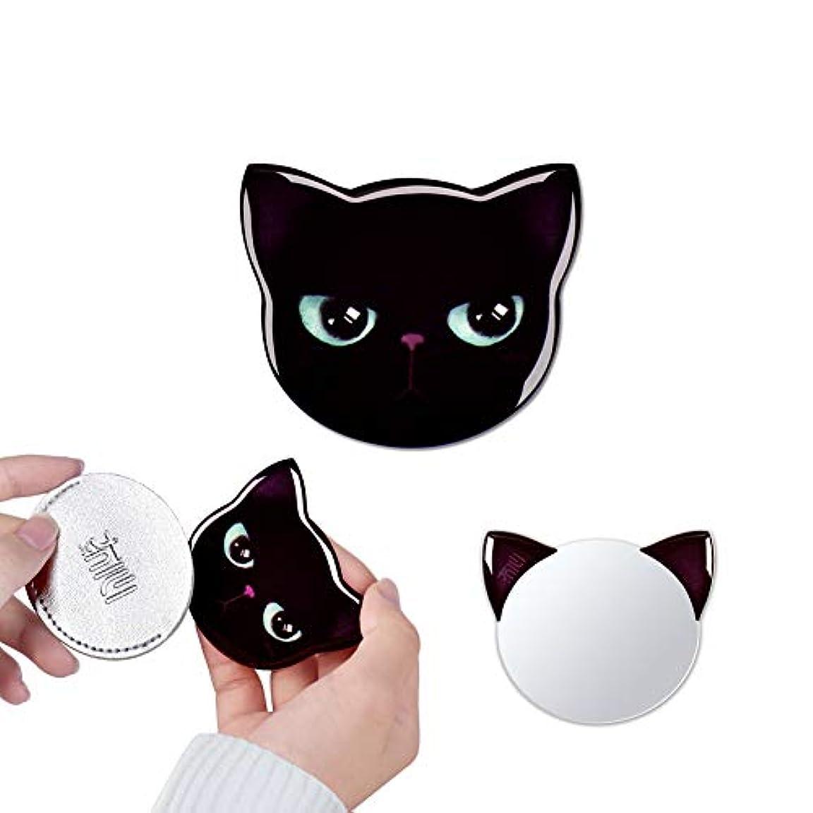 離す天皇どんなときも携帯ミラー 手鏡 コンパクト 猫柄 8パタン 収納袋付き 割れない 鏡 おしゃれ コンパクトミラー ハンドミラー かわいい (コタロウ)