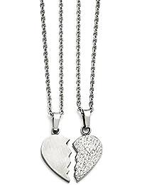 ステンレススチール1 /2 Heart Brushed & 1 /2心クリスタルネックレスセット20