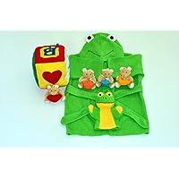 ご出産祝い 内祝い ベビークレープコレクション バスローブ 布のおもちゃ かえるのバスローブ/バスミトン ブロックとくまのマスコット 4点組み