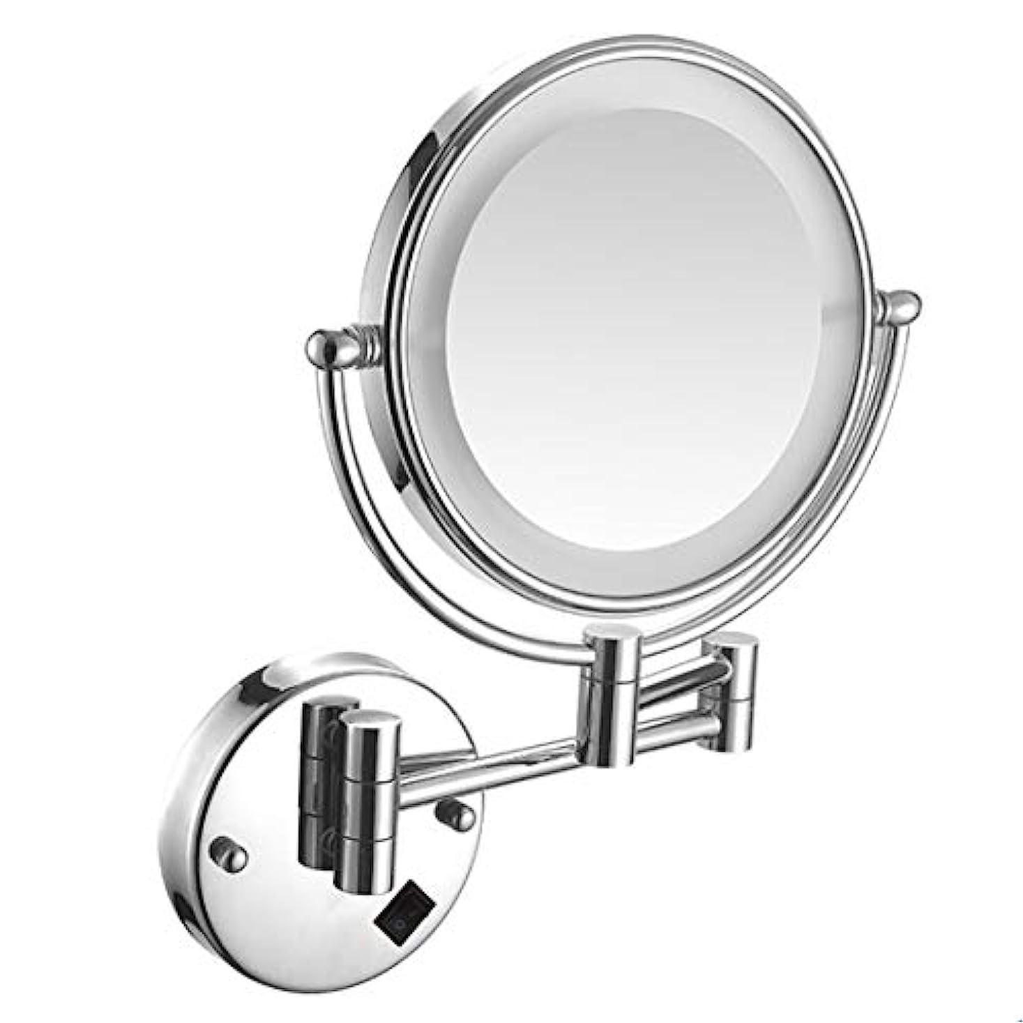 殺すストロークウォーターフロントウォールマウントLED照明付きメイクアップミラー3X拡大鏡USB充電式化粧品ミラー360°スイベル拡張可能な両面浴室用化粧鏡