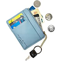 AnnabelZ Card Case Holder Slim Front Pocket Wallet Leather Coin Change Purse Keychain for Women