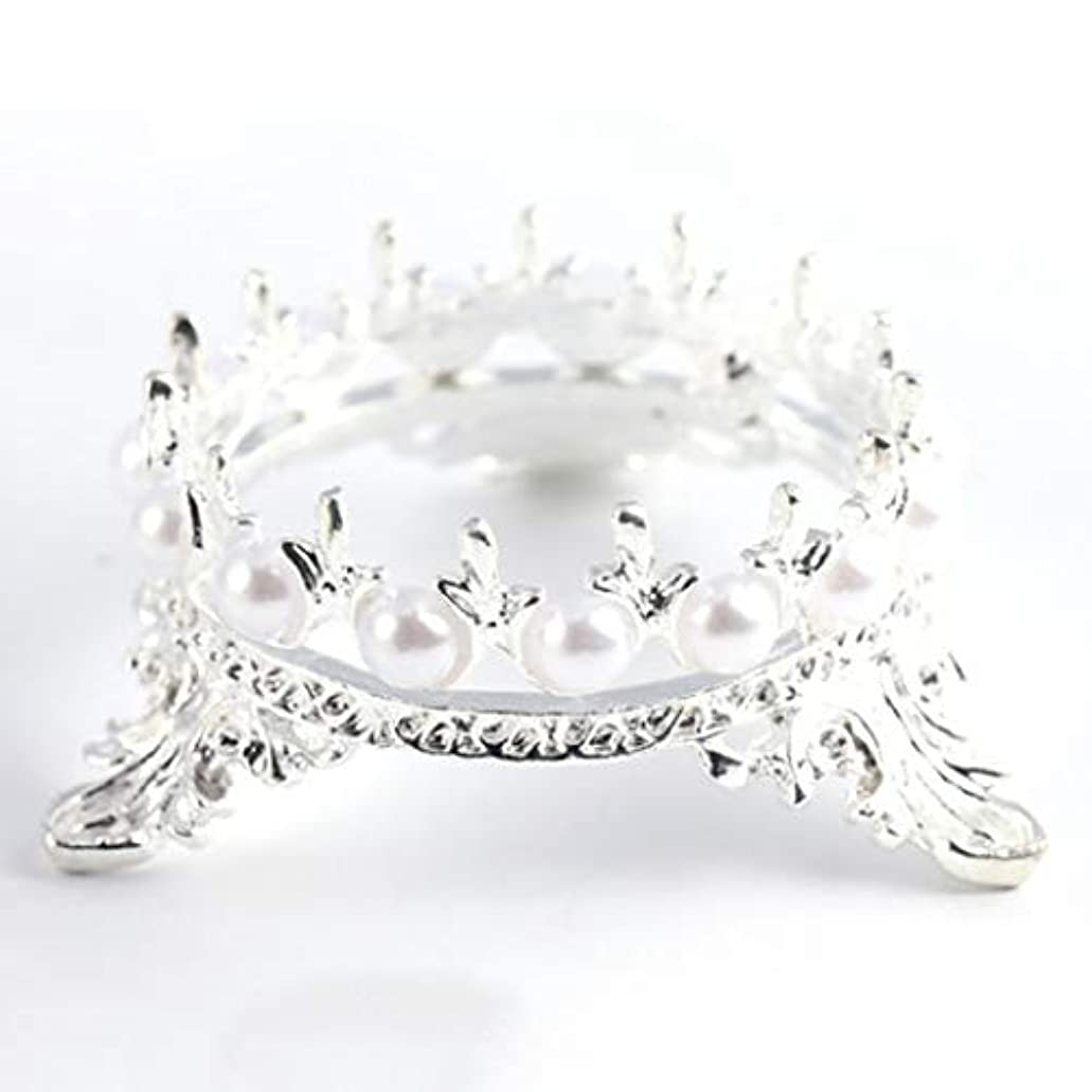 一般区別する不純OU-Kunmlef 価値のある1 xクラウンスタンドペンブラシホルダーパールネイルアートペンラックマニキュアネイルアートツール必需品(None Silver Crown Penholder)