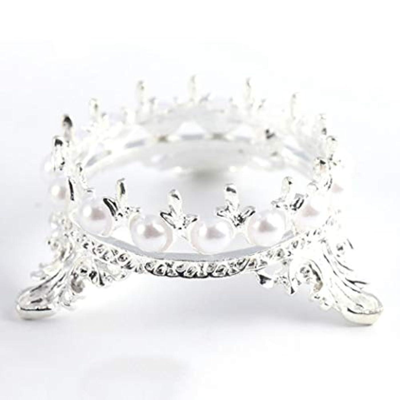 白鳥夜明けクラッチOU-Kunmlef 価値のある1 xクラウンスタンドペンブラシホルダーパールネイルアートペンラックマニキュアネイルアートツール必需品(None Silver Crown Penholder)