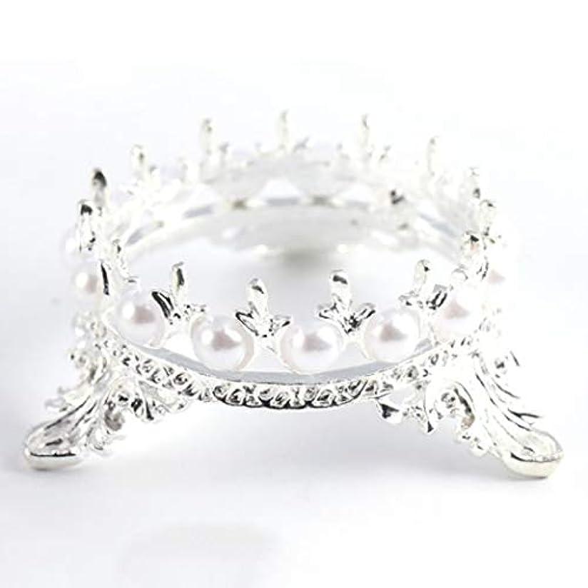 他の場所上院可愛いOU-Kunmlef 価値のある1 xクラウンスタンドペンブラシホルダーパールネイルアートペンラックマニキュアネイルアートツール必需品(None Silver Crown Penholder)
