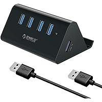 ORICO USB3.0 ハブ 4ポート スマホホルダー & HUB バスパワー 5Gbps 高速 ハブ 100cmケーブル付き ブラック SHC-U3