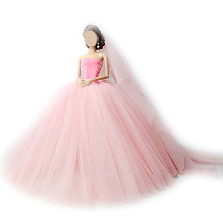 Nice Days(ナイス ディズ) 30cm  ドール 服 1/6 着せ替え 華やか ウエディングドレス レース 女の子のギフトに最適 (ピンク)