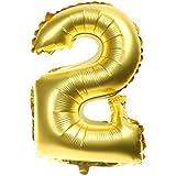 【ノーブランド 品】数字柄 0-9 アルミ 風船 誕生日 記念日 パーティー 装飾 フォイル バルーン 全2色10パターン - ゴールデン, 2
