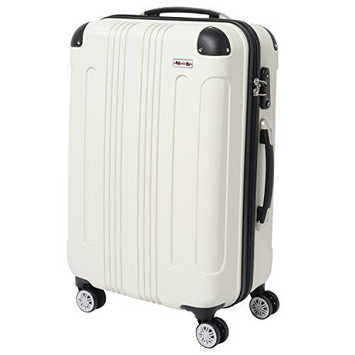 (ムーク)M∞K 超軽量スーツケース TSAロック付き 機内持ち込みSサイズ~Lサイズ (Lサイズ, ホワイト)