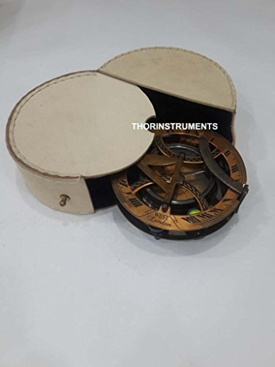 開始早める花弁銅&真鍮Nautical日時計コンパス、レザーケースFree