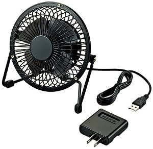 【2012年モデル】ELECOM USB扇風機 レトロ調スタンド付 ACアダプタ付 ブラック FAN-U18NABK