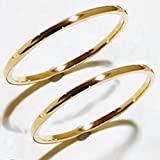 k18 指輪2個セット シンプル ペアリング 結婚指輪 マリッジリング 男女兼用 YG(18金イエローゴールド) WG(18金ホワイトゴールド) PG(18金ピンクゴールド) 職人 手作り 極細 リング オーダー (1, イエローゴールド)