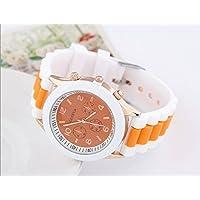 meu Amor 腕時計 ビビットカラー レディース メンズ カラフル シリコンラバー トラディショナル フェイス パステルカラー ビビットカラー ファッション腕時計 (オレンジ×ホワイト)