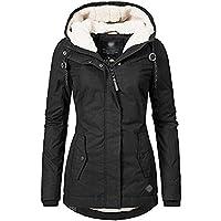 BOZEVON Womens Winter Coats - Short Thicken Belt Warm Cotton Quilted Windproof Black Autumn Winter Outdoor Casual Parka Jacket