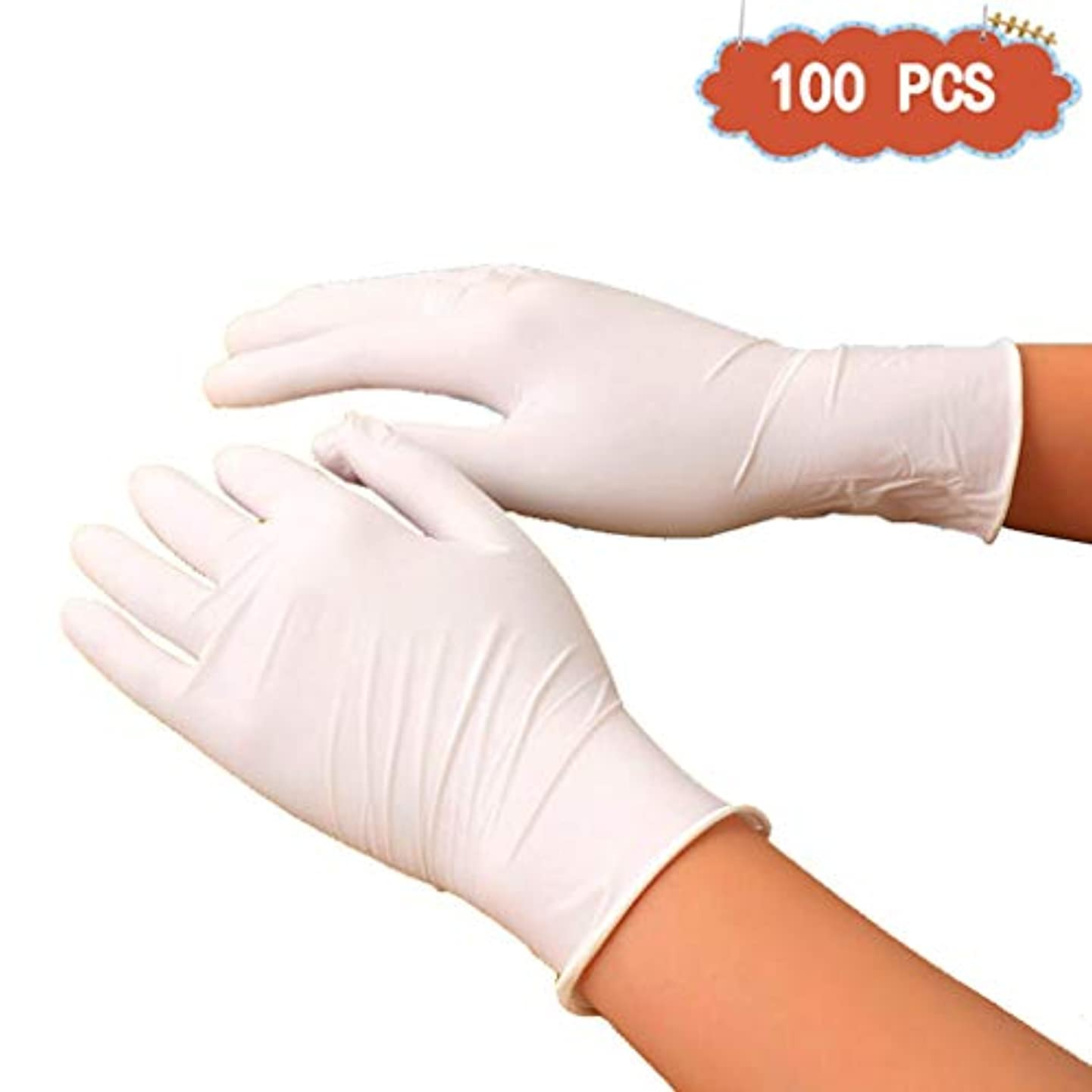 きらめく独立した前書きニトリルホームクリーニングと酸とアルカリ使い捨て手袋ペットケアネイルアート検査保護実験、美容院ラテックスフリー、パウダーフリー、両手利き、100個 (Color : White, Size : M)