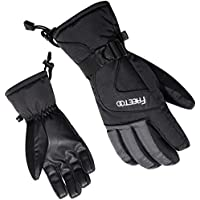 FREETOO スキー手袋 グローブ メンズ用 冬 防水 防寒 通気 ブラック