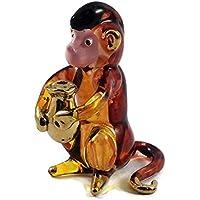 ガラスの動物 モンキー 手作り手吹きガラスの ガラス細工 ガラスの置物 ガラス ミニチュア 動物の置物 家の装飾 玩具動物園キッ - Miniature Dollhouse Animals monkey figurines Glass Blown Toy Zoo Kid